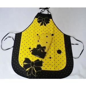 Fartuch i rękawica - Madam - komplet - żółty obraz