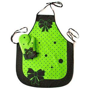 Fartuch i rękawica - Madam - komplet - Zielony obraz