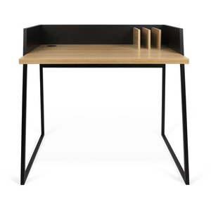 Czarne biurko z detalami w dekorze drewna dębowego TemaHome Volga obraz