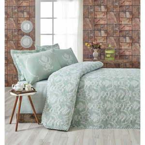 Zestaw pikowanej narzuty na łóżko i 2 poszewek na poduszki Eponj Home Pure Water Green, 200x220 cm obraz