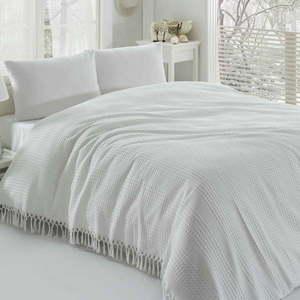 Biała bawełniana lekka narzuta na łóżko dwuosobowe Pique, 220x240 cm obraz