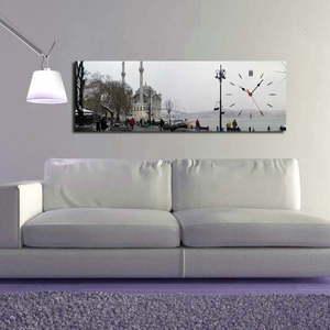 Obraz z zegarem W mieście, 30x90 cm obraz