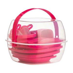 Zestaw sztućców i naczyń piknikowych Premier Housewares Hot Pink, 51 szt. obraz