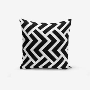 Czarno-biała poszewka na poduszkę z domieszką bawełny Minimalist Cushion Covers, 45x45 cm obraz
