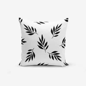 Czarno-biała poszewka na poduszkę z domieszką bawełny Minimalist Cushion Covers Black White Leaf, 45x45 cm obraz