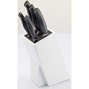 Komplet 5 noży ze stali nierdzewnej ze stojakiem Jean Dubost Crazy Blanc obraz
