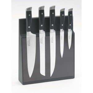 Komplet 5 noży ze stali nierdzewnej z magnetycznym stojakiem Jean Dubost Massif obraz