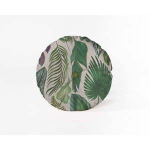 Okrągła poduszka dekoracyjna z aksamitnym obiciem Velvet Atelier Leaves, ⌀ 45 cm obraz