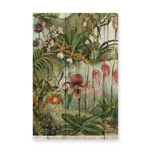 Dekoracja ścienna z drewna sosnowego Madre Selva Jungle Flowers, 60x40 cm obraz