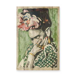 Tablica ścienna z drewna sosnowego Madre Selva Frida Coeur, 40x60 cm obraz