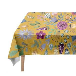 Obrus z domieszką lnu Madre Selva Colourful Flowers, 250x140 cm obraz