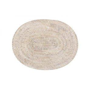 Biała rattanowa mata stołowa Tiseco Home Studio, 30x40 cm obraz
