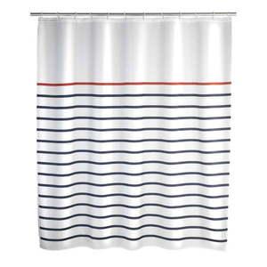 Biało-niebieska zasłona prysznicowa Wenko Marine obraz