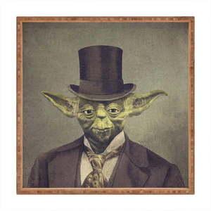 Drewniana taca dekoracyjna Yoda, 40x40 cm obraz