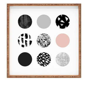 Drewniana taca dekoracyjna Les Cercles, 40x40 cm obraz
