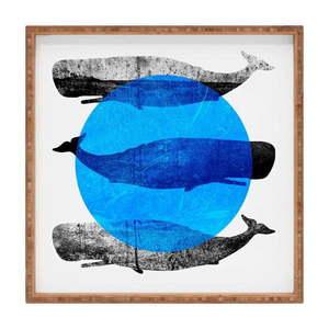 Drewniana taca dekoracyjna Whale, 40x40 cm obraz