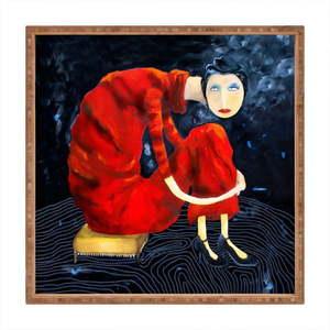 Drewniana taca dekoracyjna Red Lady, 40x40 cm obraz