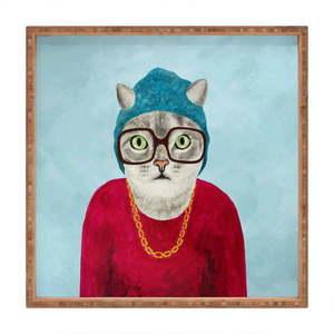 Drewniana taca dekoracyjna Catster, 40x40 cm obraz