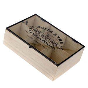 Pojemnik drewniany na herbatę ekspresową z 6 przegródkami Dakls Hannah, 24x16 cm obraz