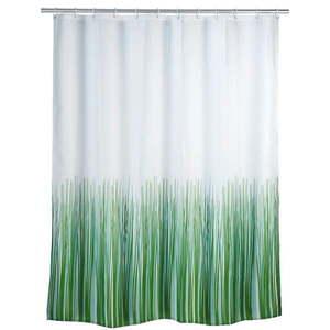 Zielono-biała zasłona prysznicowa Wenko Nature, 180x200 cm obraz