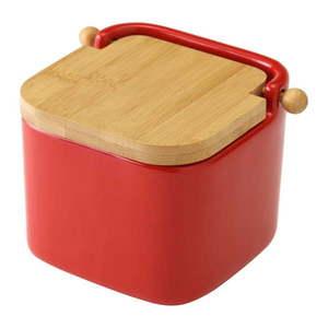 Czerwony pojemnik ceramiczny na sól Unimasa obraz