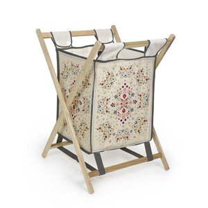 Kosz na pranie z drewna sosnowego Madre Selva Flowers Tapestry, 60 l obraz