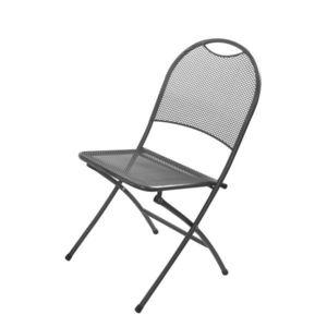 Metalowe składane krzesło ogrodowe - czarne obraz