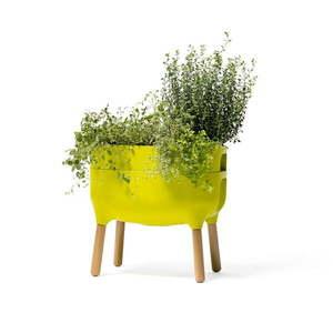 Zielony pojemnik do uprawy roślin Plastia Low Urbalive, wys. 48 cm obraz