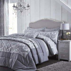 Szara pikowana narzuta na łóżko Catherine Lansfield Jacquard, 240x260 cm obraz