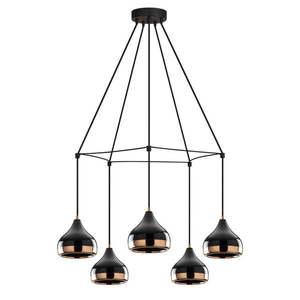Czarna lampa wisząca z 5 kloszami z elementami w kolorze miedzi Opviq lights Yildo Web obraz