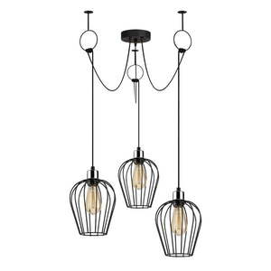 Czarna lampa wisząca z 3 kloszami Opviq lights Tel Chain obraz
