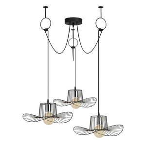 Czarna lampa wisząca z 3 kloszami Opviq lights Tel Hat obraz