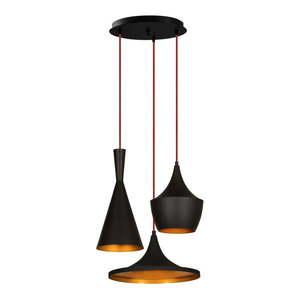 Czarna lampa wisząca z 3 kloszami Opviq lights Elmas obraz