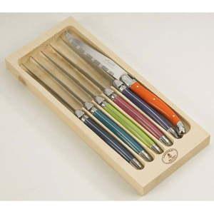 Zestaw 6 noży do steków ze stali nierdzewnej w drewnianym pojemniku Jean Dubost London Mix obraz