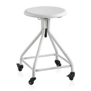 Biały metalowy stołek na kółkach z regulowana wysokością Geese Industrial Style obraz