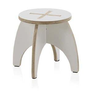Biały stołek dziecięcy ze sklejki Geese Piper, ⌀ 30 cm obraz
