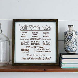 Obraz Bathroom Rules, 34x34 cm obraz
