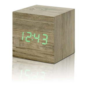 Jasnobrązowy budzik z zielonym wyświetlaczem LED Gingko Cube Clic Clock obraz