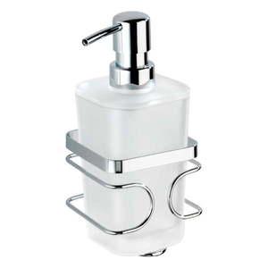 Biały ścienny dozownik do mydła z uchwytem ze stali nierdzewnej Wenko Premium obraz