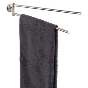 Ścienny uchwyt z 2 ramionami na ręczniki z matowego metalu nierdzewnego Wenko Cuba obraz
