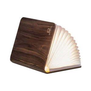 Ciemnobrązowa lampka stołowa LED z drewna orzechowego w kształcie książki Gingko Booklight obraz
