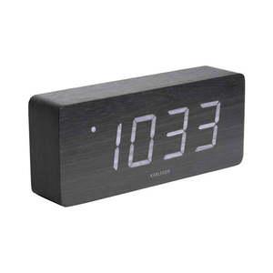 Czarny budzik z elementami drewnianymi Karlsson Cube, 21x9 cm obraz