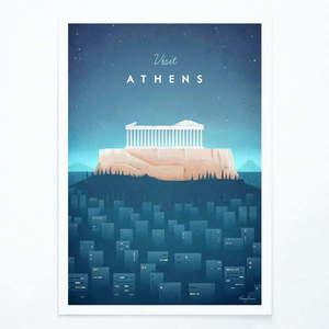 Plakat Travelposter Athens, A3 obraz