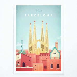 Plakat Travelposter Barcelona, A3 obraz