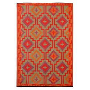 Pomarańczowo-fioletowy dwustronny dywan na zewnątrz z tworzywa sztucznego z recyklingu Fab Hab Lhasa Orange & Violet, 150x240 cm obraz