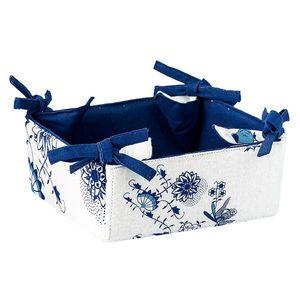 Koszyk na pieczywo - biało-niebieski - Rozmiar 18x18x8cm obraz