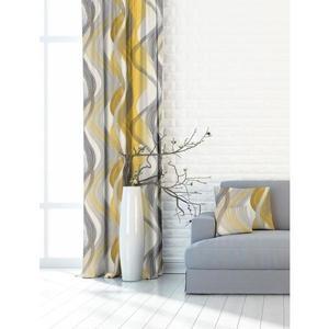 Forbyt, Zasłona lub materiał dekoracyjny, OXY Fala, żółta, 150 cm obraz