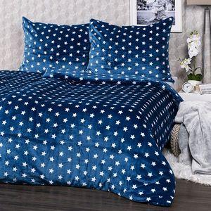 4Home Pościel mikroflanela Stars niebieski, 140 x 220 cm, 70 x 90 cm , 140 x 220 cm, 70 x 90 cm obraz