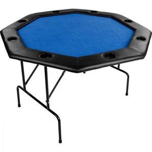 Stół do pokera 122x122x76cm, składany, niebieski obraz