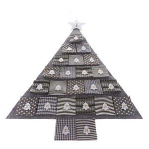 Szary materiałowy kalendarz adwentowy w kształcie choinki, dł. 68 cm obraz